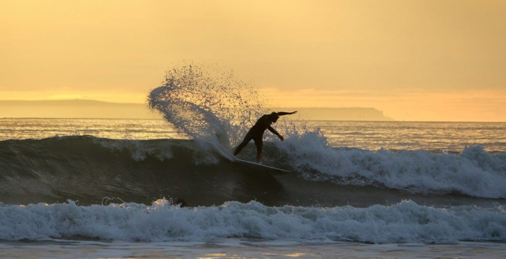 Surfing at Croyde beach